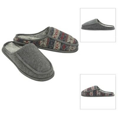 Dunlop Mens Alvin Mule Slippers Luxury Warm Faux Fur Lined Slip On Indoor Shoes