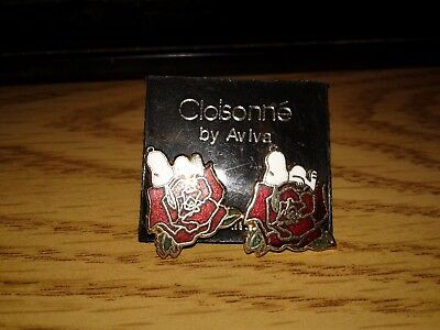 Vintage Aviva Snoopy and Rose Earrings