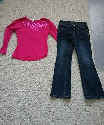 Justice  Girls Long Sleeve Shirt  Size 8 And Justice Jeans  Size 8 Euc