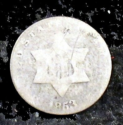 1853 About Good (AG) Silver Three Cent Piece - 3cs15