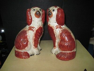 Antique/vintage Staffordshire Pair Of Mantle Dogs   Polychrome