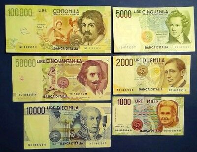 ITALY: Set of 6 Lira Banknotes Extremely Fine Condition
