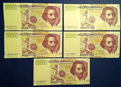 ITALY: 5 x 50,000 Lira Banknotes Extremely Fine Condition