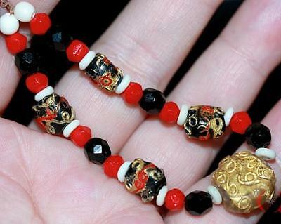 ANTIQUE~RARE~FANCY~TABULAR~TRAILED~MIX~Venetian/African Trade bead~24K GOLD LEAF