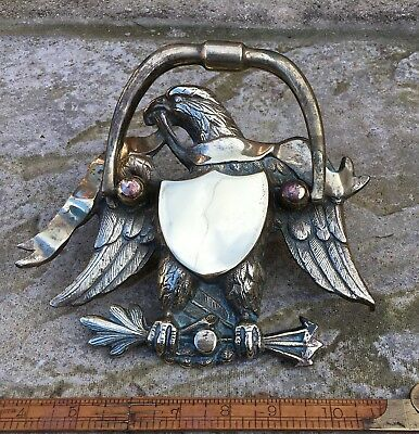 Unusual Huge Salvaged Antique Vintage Brass American Eagle Door Knocker.
