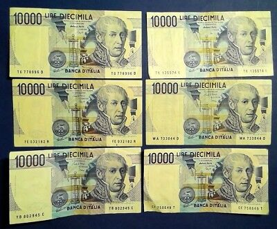ITALY: 10 x 10,000 Lira Banknotes Very Fine Condition