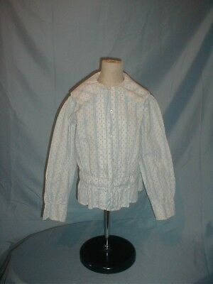 Antique Child's Dress Shirt 1890 Boy's Blue and White Cotton
