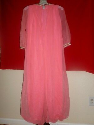 Vintage Carol Brent One Piece Harem Style Peignoir Pants Suit Nightgown Gown XS