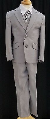 NEW Fouger Boys #1296 2 button suit Silver Grey Striped Tie 5 pc set