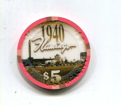 $5 Flamingo Casino -Las Vegas Nevada  Pic Of The Flamingo In 1940 Chip