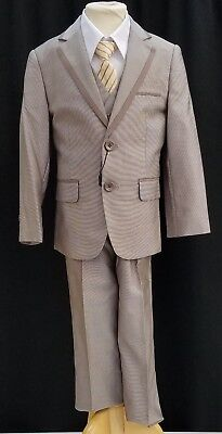NEW Fouger Boys #458 Champagne Gold 2 button suit Dark Tan tie 5 pc set