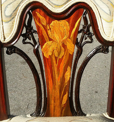 Emile Galle ART NOUVEAU CHAIR Inlaid IRIS Marquetry Upholstered 1900 side desk