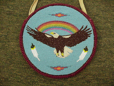 Native American Beaded Bag Eagle With Cut Beads