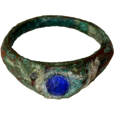An Amazing Late Roman Bronze Intaglio Ring With Nice Blued Glass Stone 400 Ad