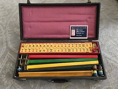 Vintage Mah Jongg Set 5 Racks & 165 Bakelite Tiles Mahjongg With Original Case