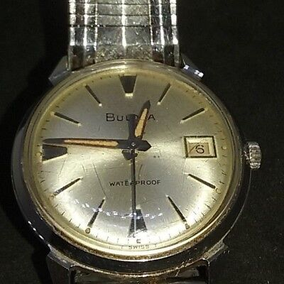 Vintage M5 BULOVA Swiss Made Men's Date WR Watch Automatic Stretch Band