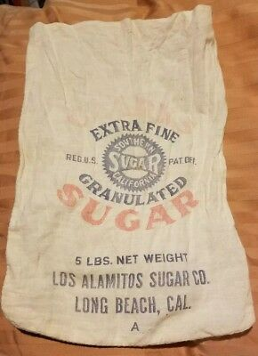 Vtg. Advert Clark's Extra Fine Southern Cal Sugar Sack Los Alamitos  Sugar Co 5#