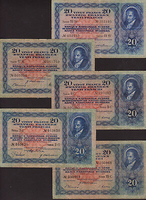 Banknote set 5 pcs SWITZERLAND - 20 Franken different dates - P, 39