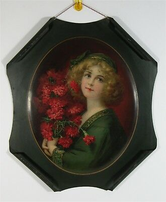 """1905 Tin Lithograph Die Cut Rolled Corner Advertising Sign """"carnation Girl"""""""