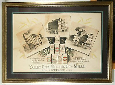 """1890s VALLEY CITY BRAND BAKING FLOUR CHROMOLITHOGRAPH ADVERTISING SIGN 42"""" X 31"""""""