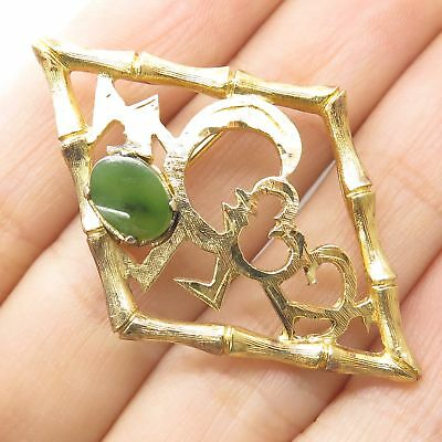 Vtg Wells 925 Sterling Silver Gold Plated Jade Gemstone Bamboo Open Pin Brooch