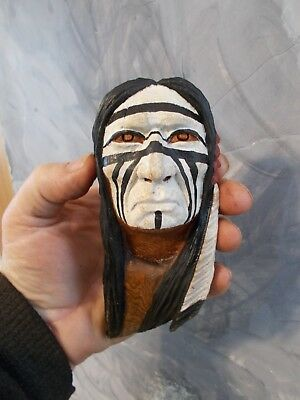 Mini Wood Carving, Wood Spirit, Native American Indian Warrior #3