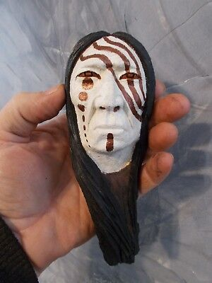 Mini Wood Carving, Wood Spirit, Native American Indian Warrior #4
