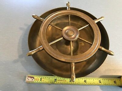 "R Vintage 4"" Brass Ships Wheel That Spins On Bell"