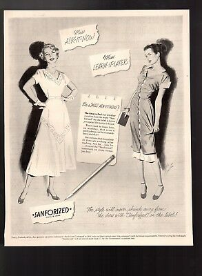 1949 Vintage Print Ad Sanforized Fabric Ladies Fashion