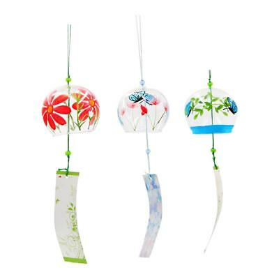 3x Japanese Glass Wind Chime Bell Hanging Ornament Gift Home Window Decor #7