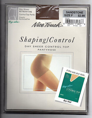nice touch  pantyhose 1 pair sandstone  size F control top  cd tv sissy  new