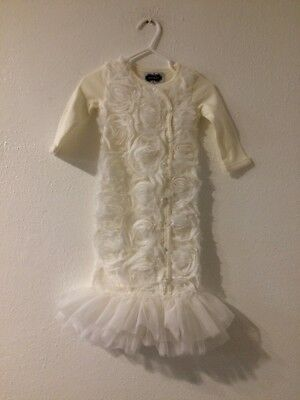 Mudpie 0-3 Gown Off White Baptism Pictures Props
