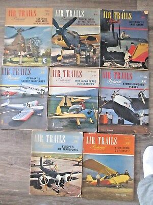 Eight Vintage Air Trails Pictorial Aircraft Magazines 1945-1946  One Jan 1941