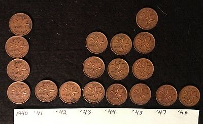 Lot of 33 CANADIAN SMALL CENTS (18) from 1940s and  (15) from 1950's