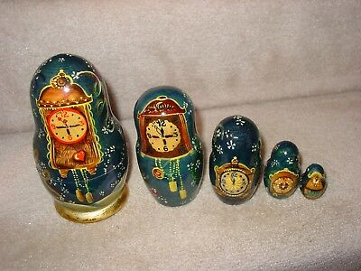Russian Nesting 5 Dolls  Hand Painted And Signed Year 2000 Happy New Year Clocks