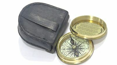 Brass Magnetic Compass with Leather Case Antique Style Robert Frost Poem New