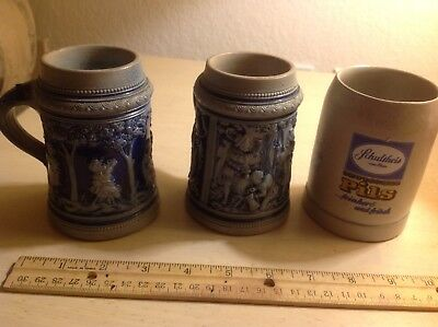 Set of 3 small 1/4 l beer steins/mugs (no lids). Blue, Angels, Dragons.