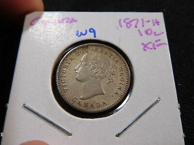 W9 Canada 1871-H 10 Cents XF