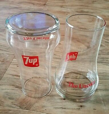 """EVC Upside Down 7UP Soda ~ The Uncola ~ (2) Drinking Glass Tumblers 12 oz   6"""""""