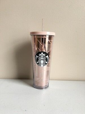 2017 Starbucks Rose Gold Geo Venti Tumbler