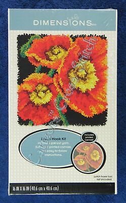 "Latch Hook Kit Poppies 16"" x 16"" 3 Poppy Flowers Dimensions Printed Canvas"