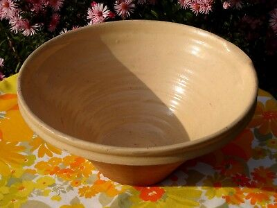 """CREAMY French Ceramic Antique Confit Pottery GRESALE Tian Dish MIXING Bowl 12"""""""