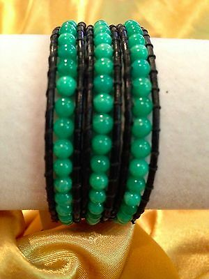 LOVE & WISHES Bracelet Green Jasper for Weight Loss Triple Wrap Black Leather