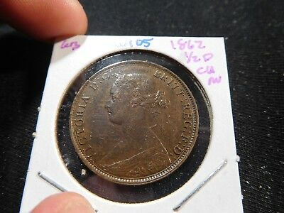 W105 Great Britain 1862 1/2 Penny Choice AU