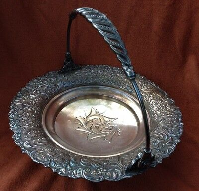 Brides Basket Compote Fancy Footed silverplate Twisted Swing Handle Silver Baske