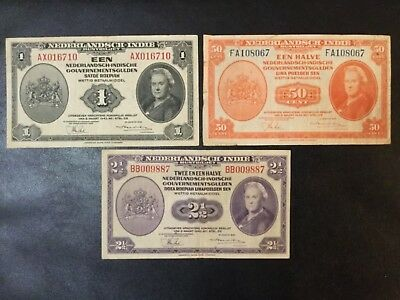 1943 Netherlands Indies Paper Money - Set Of 3 Banknotes !
