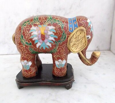 Vintage Traditional Chinese Brass Cloisonne Elephant with Wooden Stand - EUC