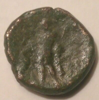 Authentic Ancient Greek Bronze Coin Thrace Maroneia Dionysos holding Grapes 16mm