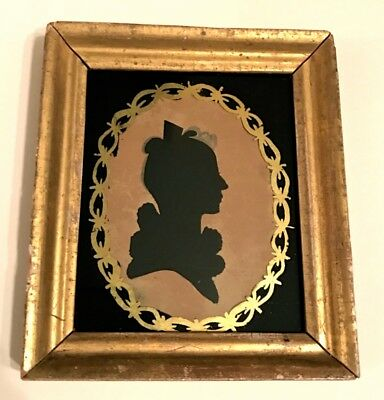 c.1820 Antique American Hollow Cut Silhouette Portrait of Young Woman w/Eglomise