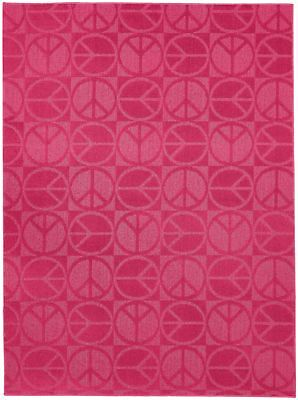 Garland Rug Large Peace Area Rug, 7-Feet 6-Inch by 9-Feet 6-Inch, Pink New